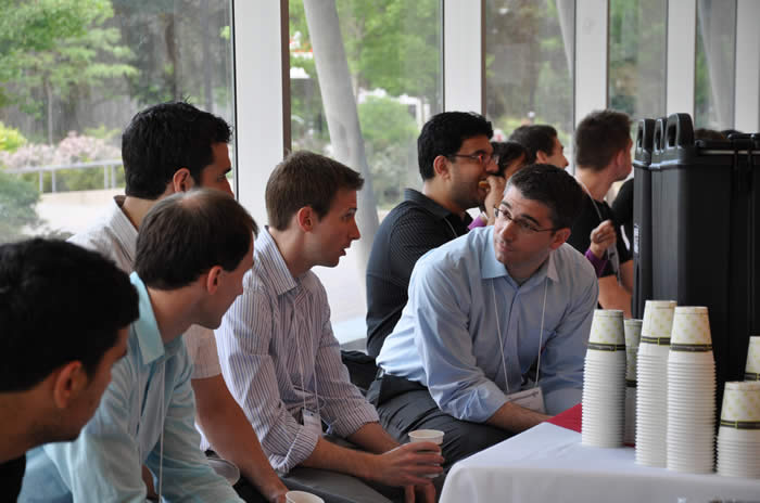 photo of attendees during a coffee break in Lassonde Building