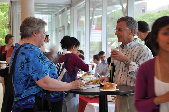 photo of attendees during lunch break in Lassonde Building