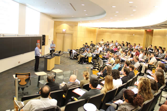 photo of speakers and audience in Life Sciences room