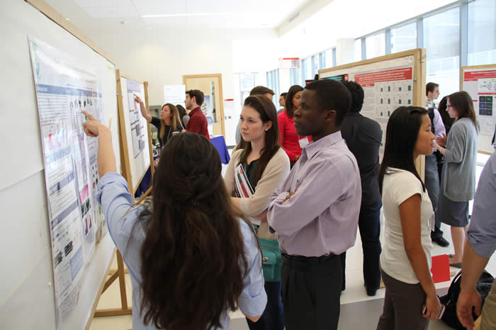 presenter discussing diagram on poster with attendees in Life Sciences Building