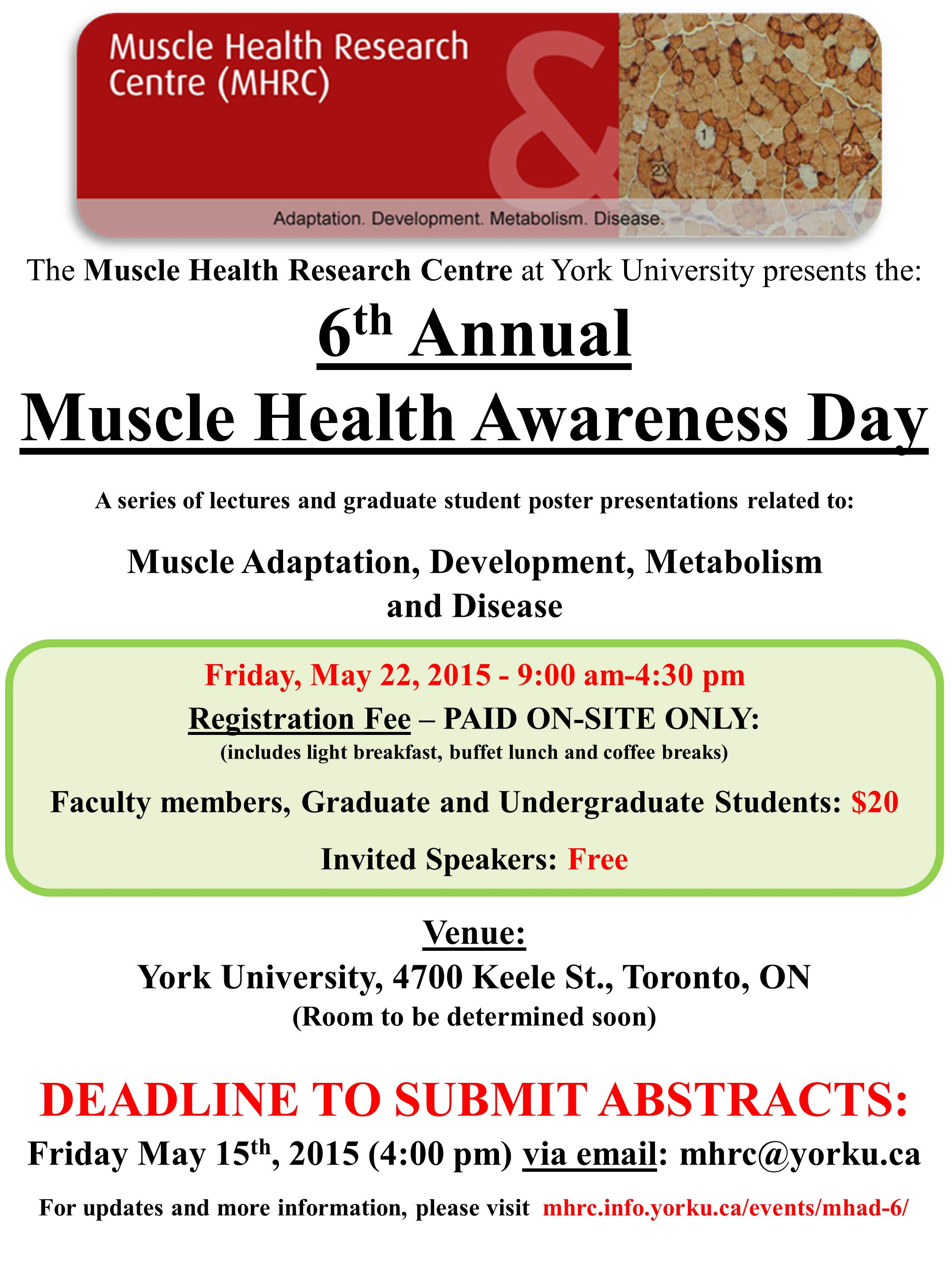 6th Annual Muscle Health Awareness Day @ York University