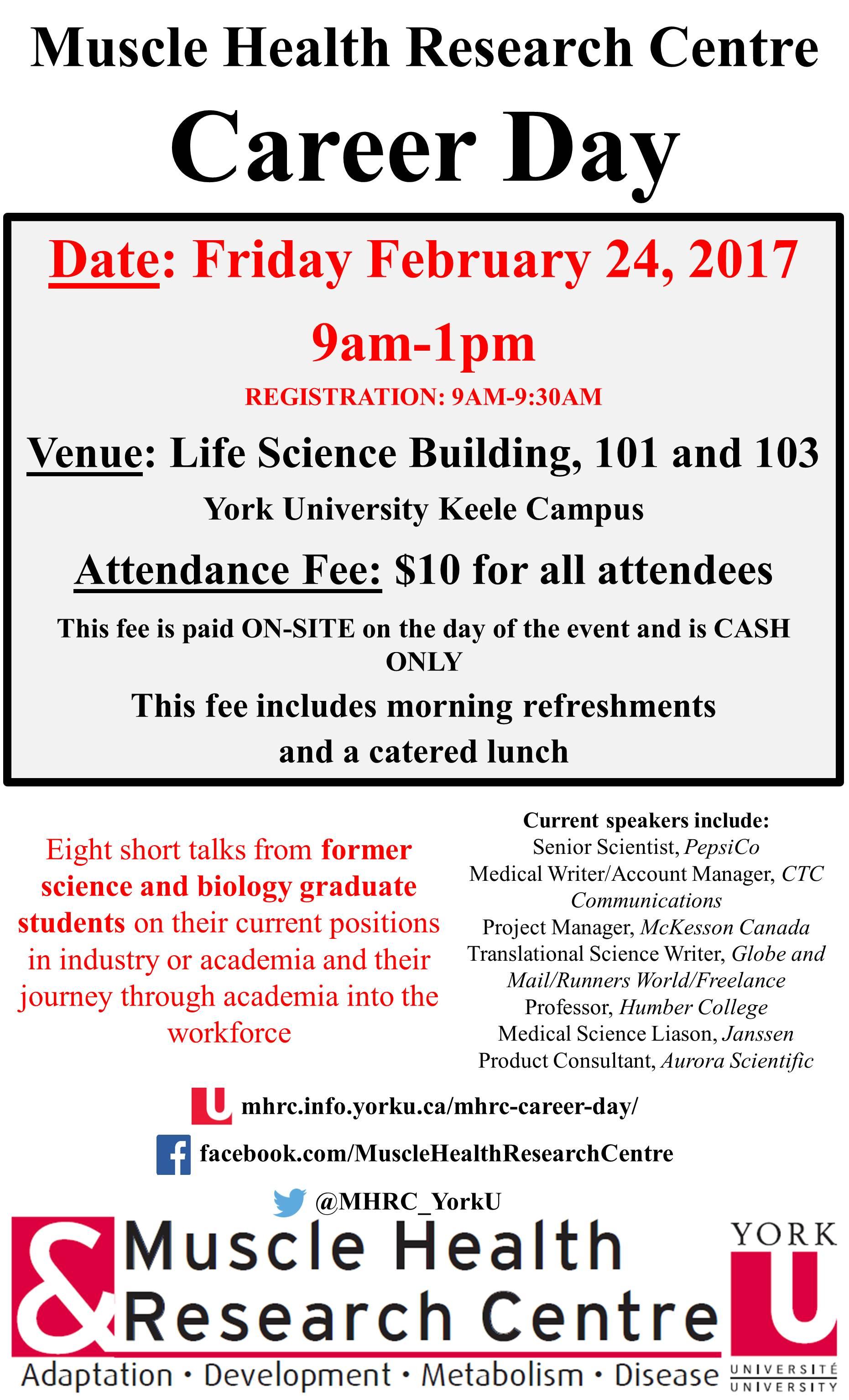 MHRC Career Day @ Room 103 Life Science Building, York University   Toronto   Ontario   Canada