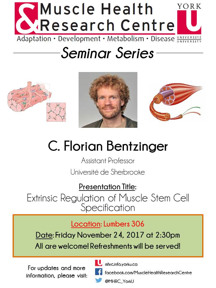 MHRC Seminar Speaker - Dr. C. Florian Bentzinger @ 306 Lumbers | Toronto | Ontario | Canada