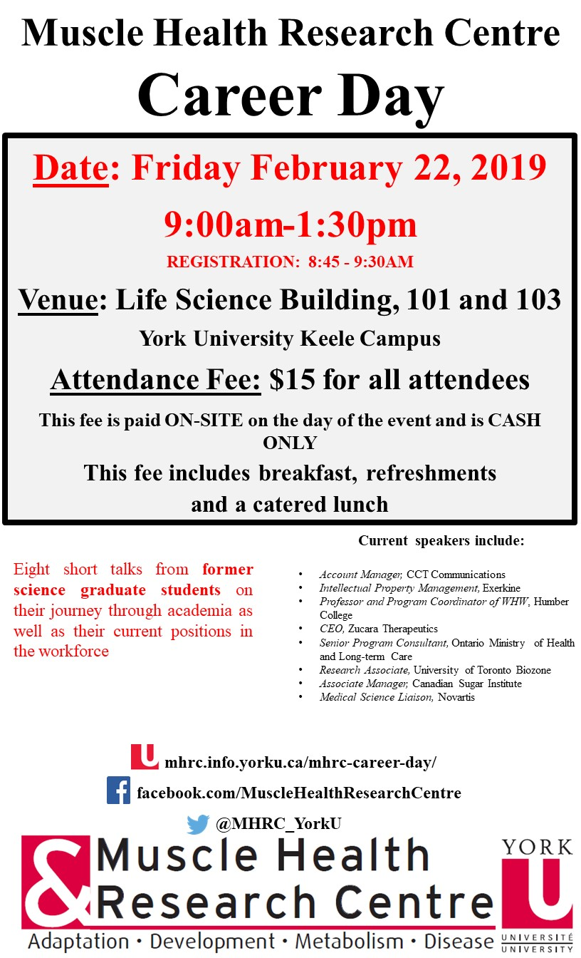 MHRC Career Day 2019 @ Room 103 Life Science Building, York University
