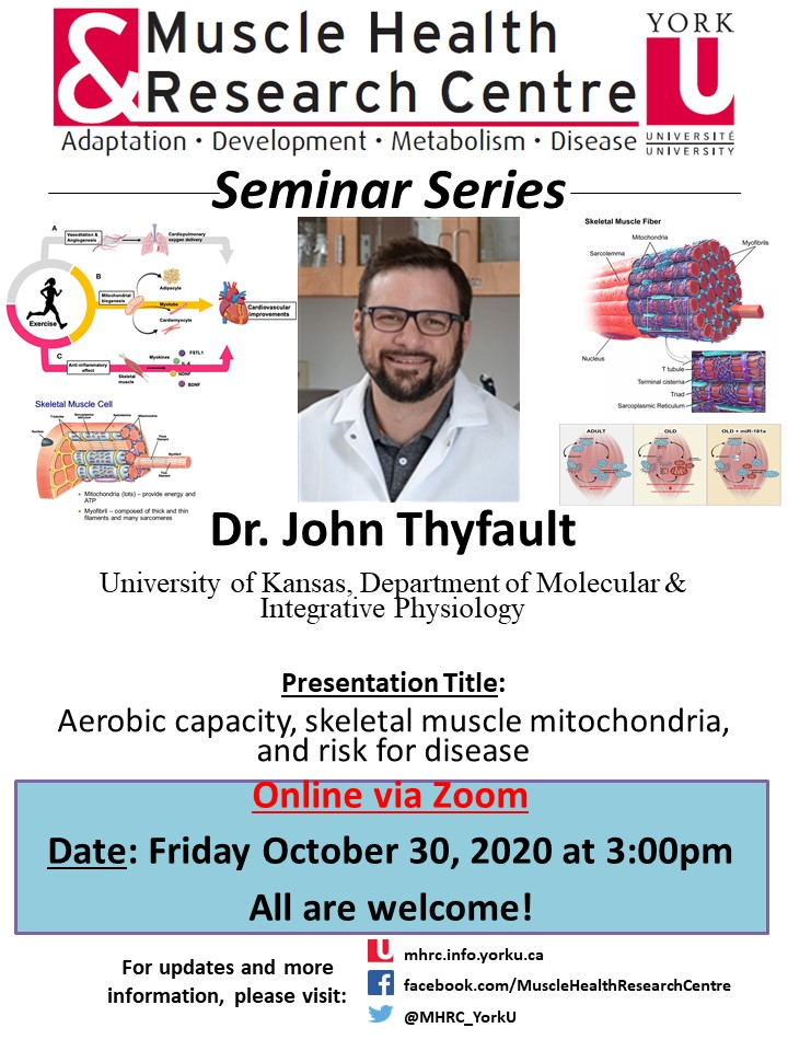 MHRC Seminar Series with Dr. Thyfault @ Online Via Zoom